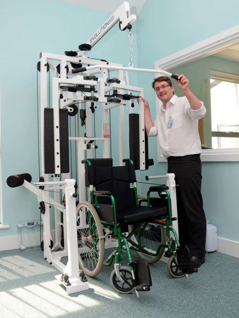 Lead physio Hugh Brunskill with a new piece of gym equipment designed for wheelchair users. Pic credit: Canterbury