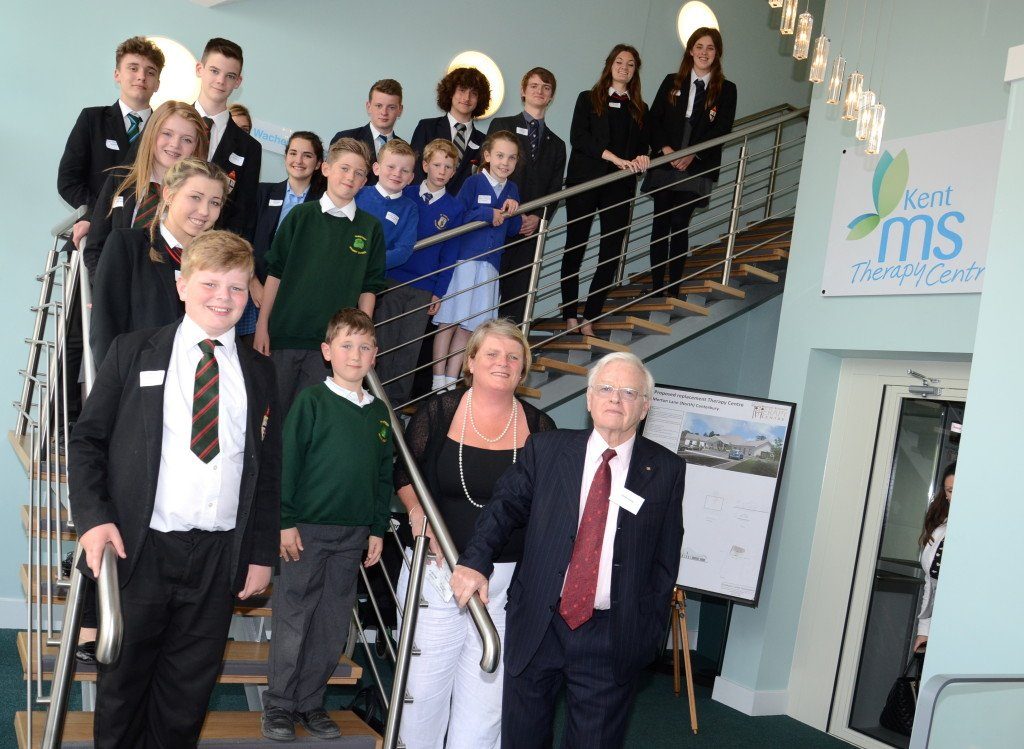 Patron Frank Brake, fundraiser and member Mary Daly and school pupils. Pic credit: Canterbury Times
